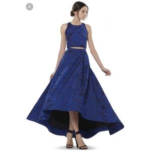 Alice & Olivia blue jacquard skirt & crop top 8